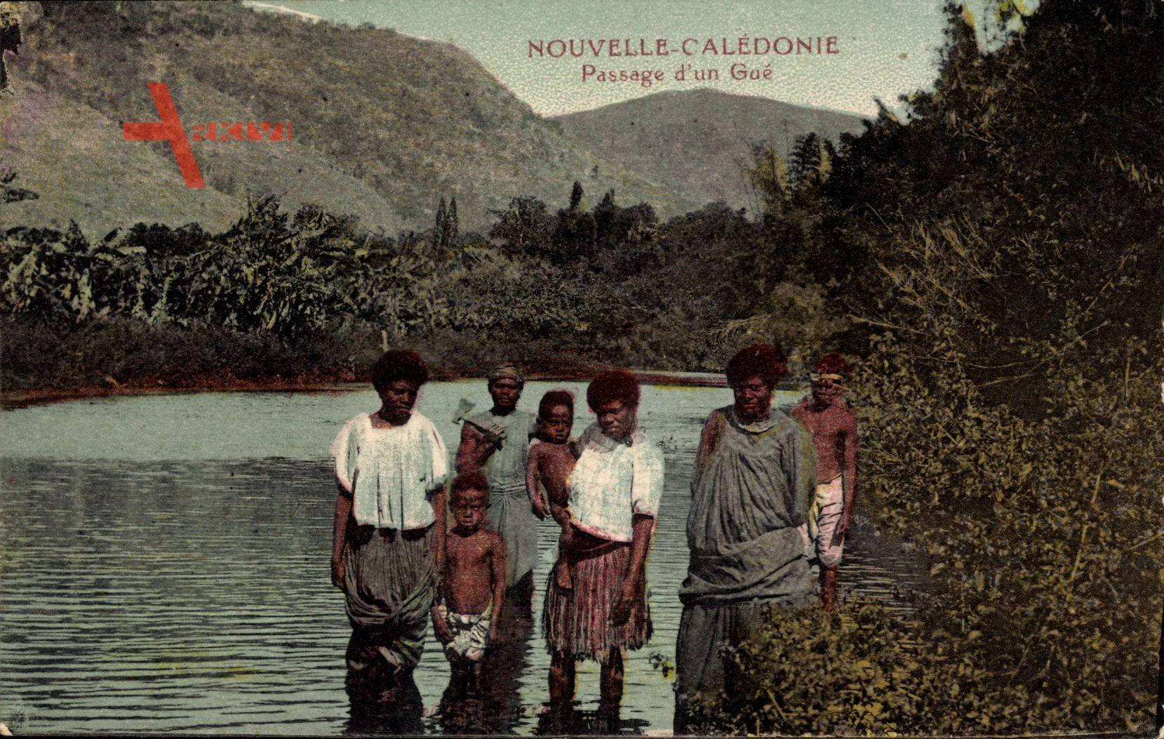 Neukaledonien, Passage d'un Gué, Eingeborene, Wasser