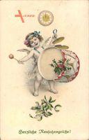 Glückwunsch Neujahr, Engel spielt auf einer Trommel, Uhrzeit,Mitternacht,Munk