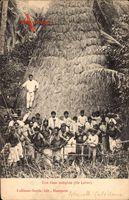 Ile Lifou Neukaledonien, Une case indigène, Eingeborenendorf