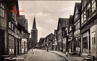 Uelzen in Niedersachsen, Achterstraße, Geschäft Paul Rechenberg, Kirche