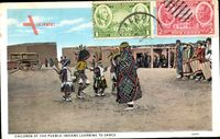 Children of the Pueblo Indians learning to dance,Indianerkinder lernen tanzen