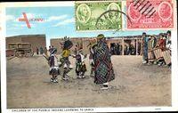 Children of the Pueblo Indians learning to dance,Indianerkinder lernen tanzen