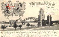 Mainz, Neue Eisenbahnbrücke 1904, Kaiser Wilhelm II., Ernst Ludwig v. Hessen