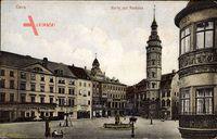 Gera in Thüringen, Der Marktplatz mit Rathaus und Geschäften