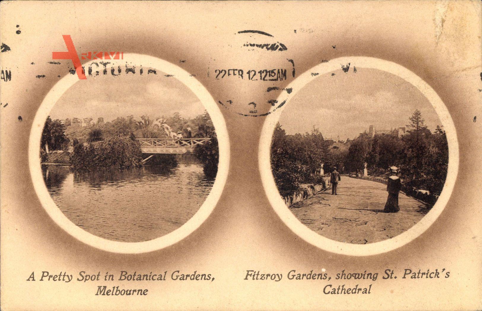 Passepartout Melbourne Australien, Botanical Gardens, St. Patrick's Cathedral
