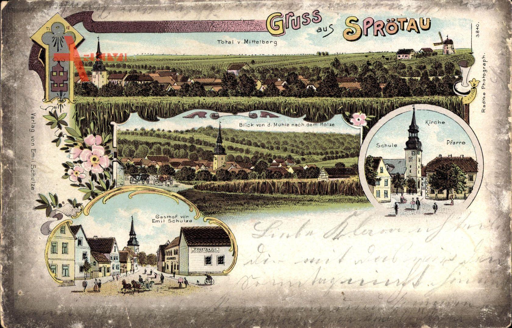 Sprötau Thüringen, Kirche, Schule, Pfarre, Gasthof Schulze