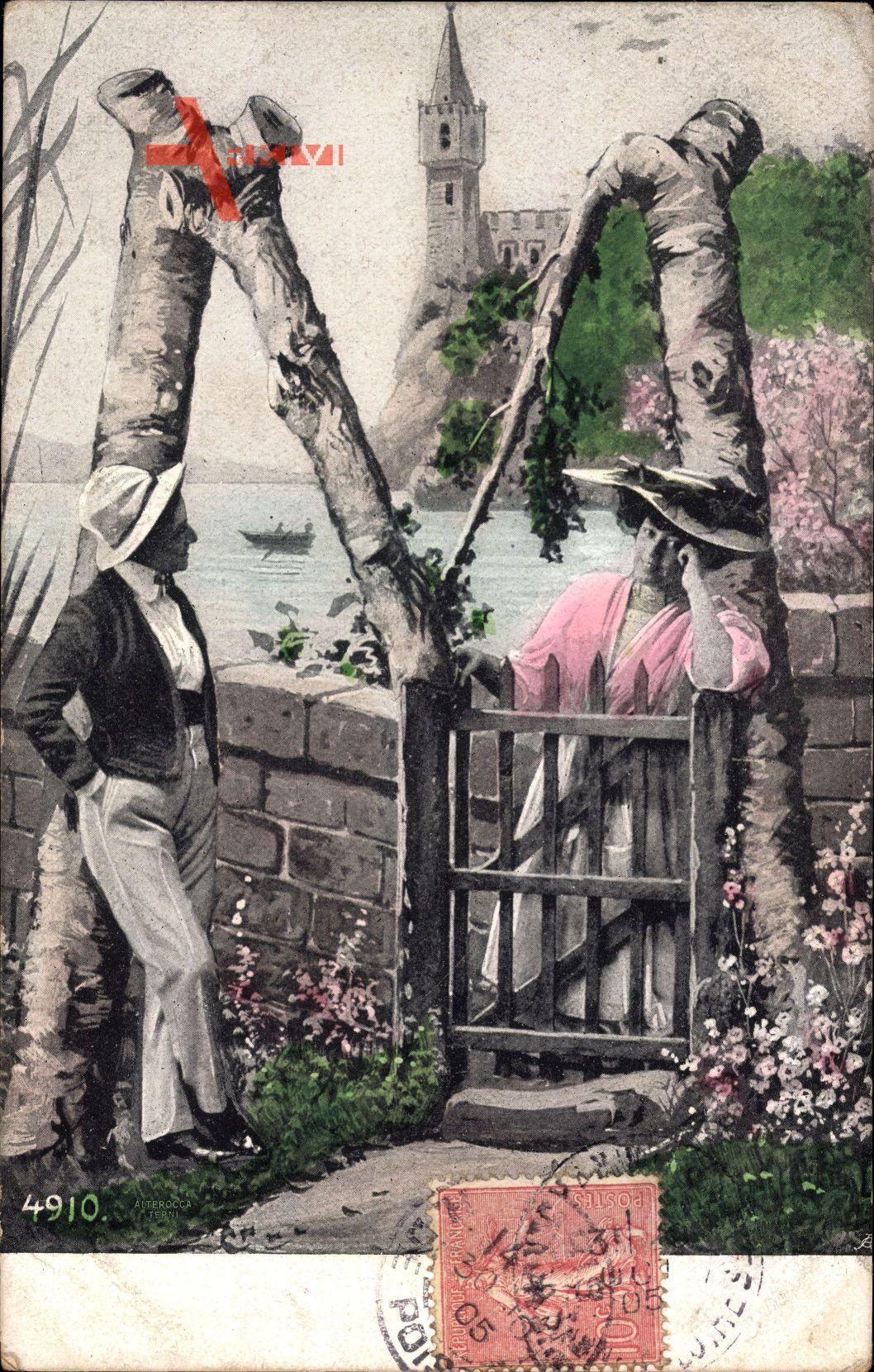 Buchstaben M, Frühling, Liebespaar am Holztor, Idyll