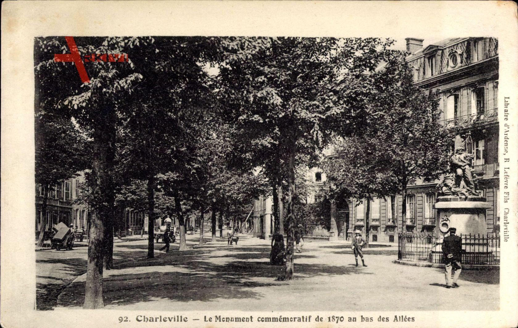 Charleville Ardennes, Le Monument commemoratif de 1870 au bas des Allees