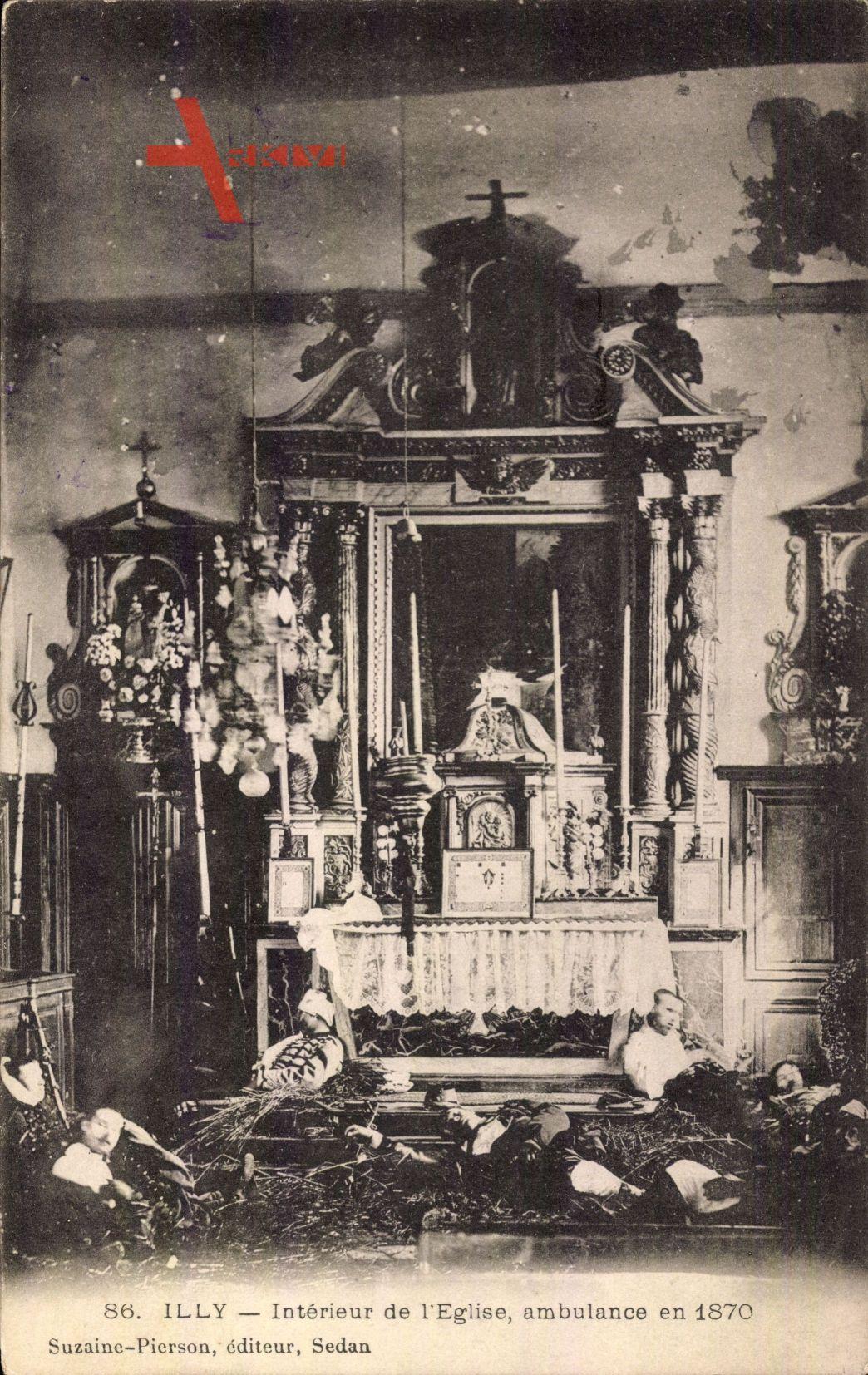 Illy Ardennes, Interieur de l'Eglise, ambulance en 1870, Altar, Soldaten