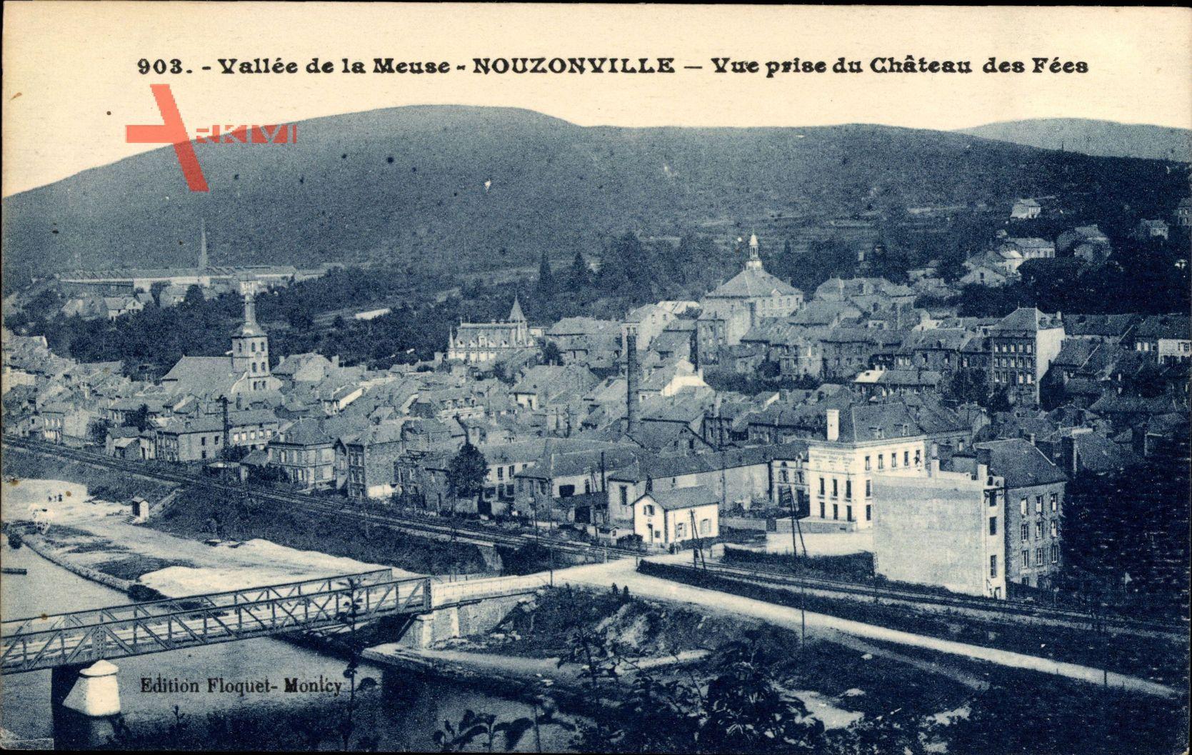 Nouzonville Ardennes, Vue prise du Chateau des Fees, Fluss, Brücke, Schienen