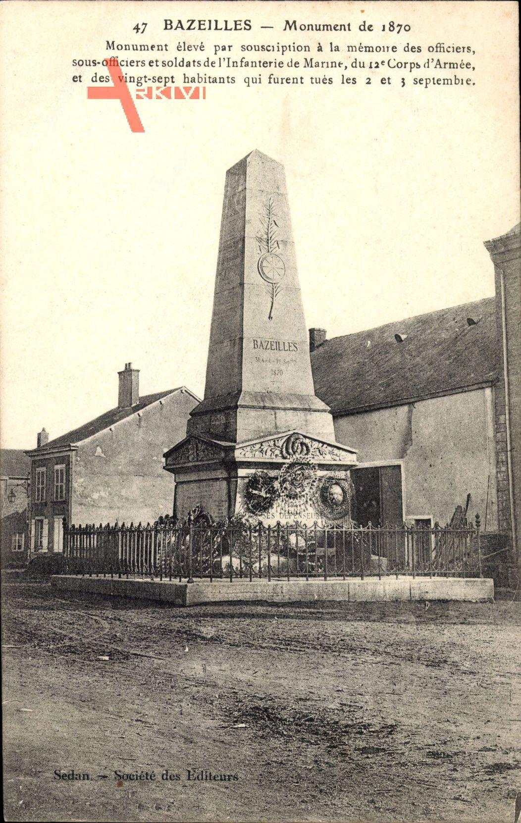 Bazeilles Ardennes, Monument de 1870, Partie am Denkmal