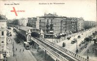 Hochbahn an der Wienerstraße in Berlin Kreuzberg um 1907 aus der Vogelperspektive