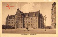 Oberhausen, Blick auf das Amtsgericht, Vorplatz, Brunnen, Straßenlaterne