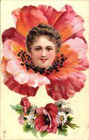Frauenportrait, Mohnblüte, Frühling, Gelocktes Haar