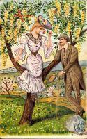 Liebespaar im Freien, Kirschbaum, Frühling