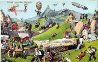 Zukunft Gruß aus den Bergen, Zeppeline, Ballons, Eisenbahn, Bergsteiger