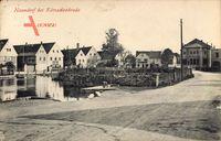 Naundorf Radebeul, Straßenpartie im Ort, Teich, Theater, Schwäne, Häuser