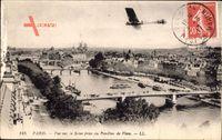 Paris, Vue sur la Seine prise du Pavillon de Flore, Flusspartie, Flugzeug