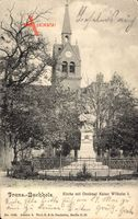 Berlin Pankow Franz. Buchholz, Kirche mit Denkmal Kaiser Wilhelm I.