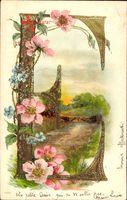 Buchstaben E, Frühling, Idyll, Blumen, Kitsch