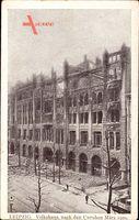 Leipzig in Sachsen, Blick auf das Volkshaus nach den Unruhen März 1920