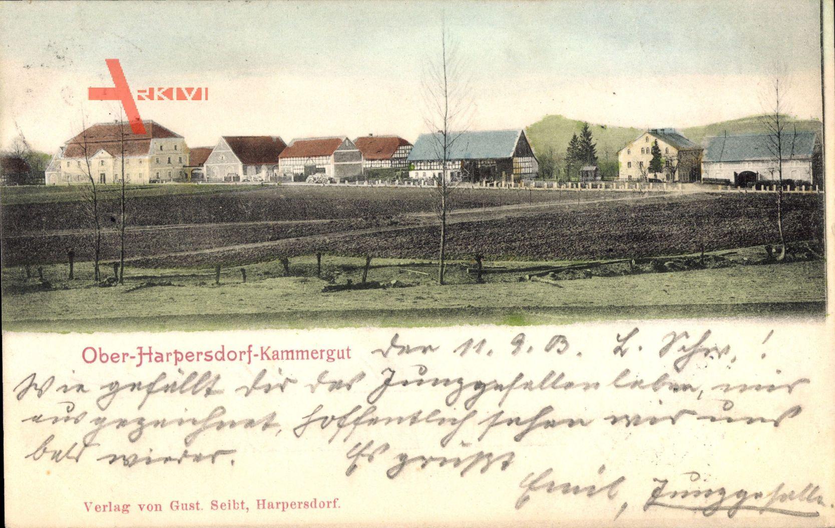 Ober Harpersdorf Kammergut, Blick auf den Ort, Herbst