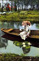 Spreewaldbilder, Ein Idyll, Mädchen in Tracht, Teichrosen