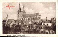 Xanten am Niederrhein, Teilansicht der Ortschaft mit Blick auf den Dom