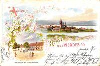 Werder Havel, Marktplatz am Kriegerdenkmal im Frühling
