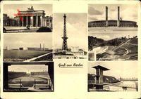 Berlin Charlottenburg, Funkturm, Stadion, Brandenburger Tor, Messegelände