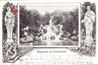 Berlin Kreuzberg, Wasserfall im Victoriapark, Statuen, Th. Körner, E. Arndt