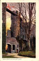 Mettlach, Blick auf die Burg Montclair, Turm, Herbst