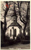Sayda Erzgebirge, Blick auf die Stadtkirche im Herbst
