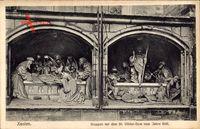 Xanten am Niederrhein, Gruppen vor dem St. Viktor Dom vom Jahr 1536