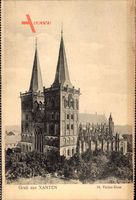 Xanten am Niederrhein, Blick auf den St. Victor Dom, Fassade, Kirchturm