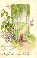 Glückwunsch Pfingsten, Paar, Spaziergang im Wald, Birken