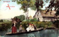 Spreewälder Landestrachten, Gondel, Frauen, Bauernhof