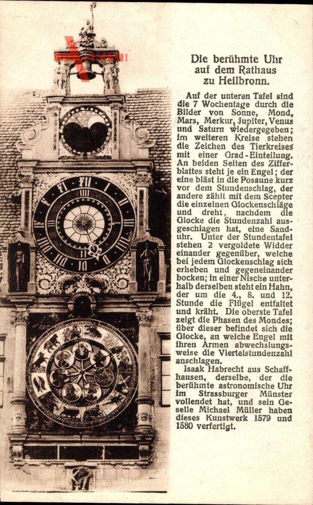 Heilbronn, die berühmte Uhr auf dem Rathaus zu Heilbronn