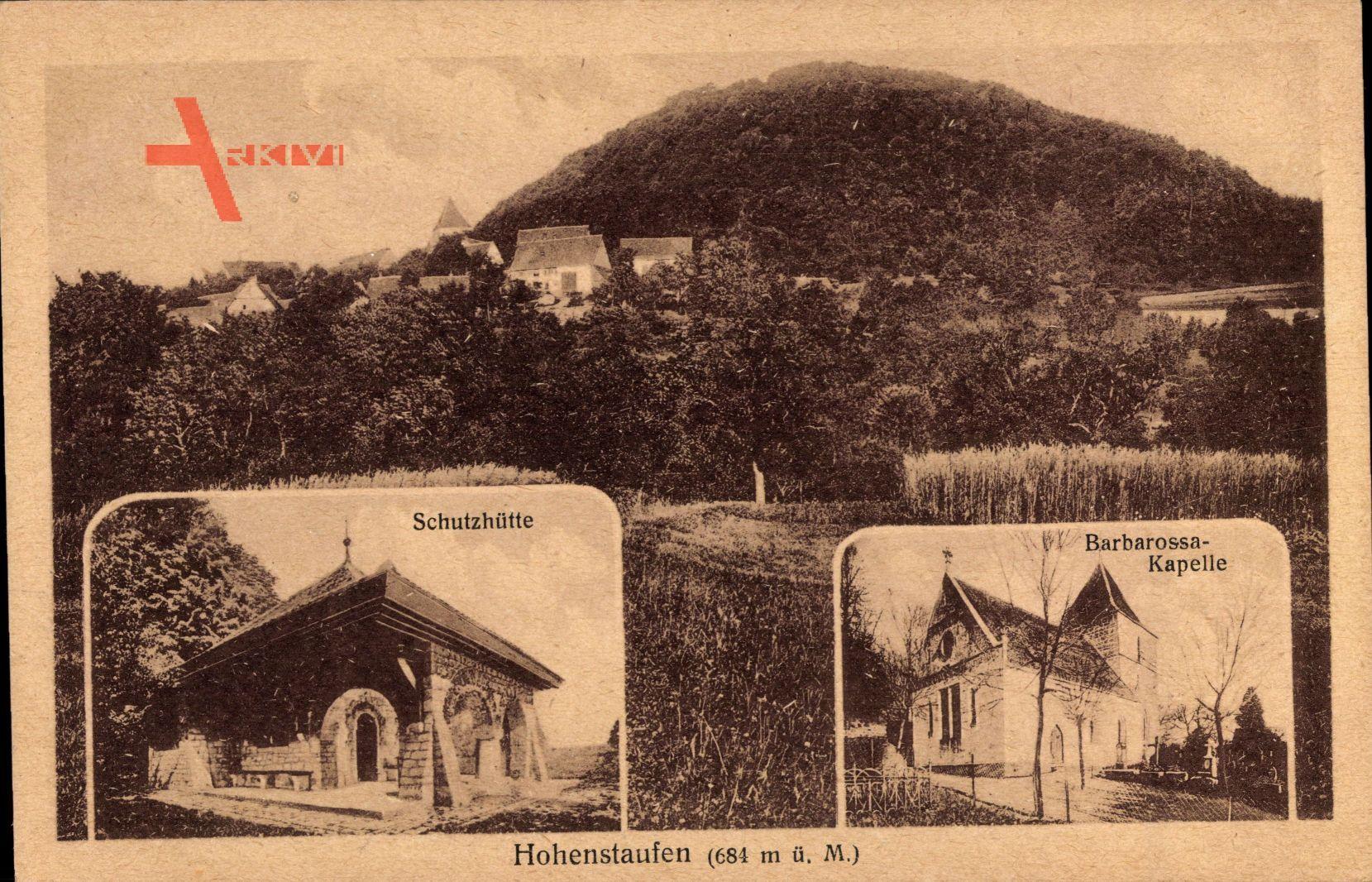 Hohenstaufen Göppingen, Schutzhütte mit Barbarossa Kapelle und Berg