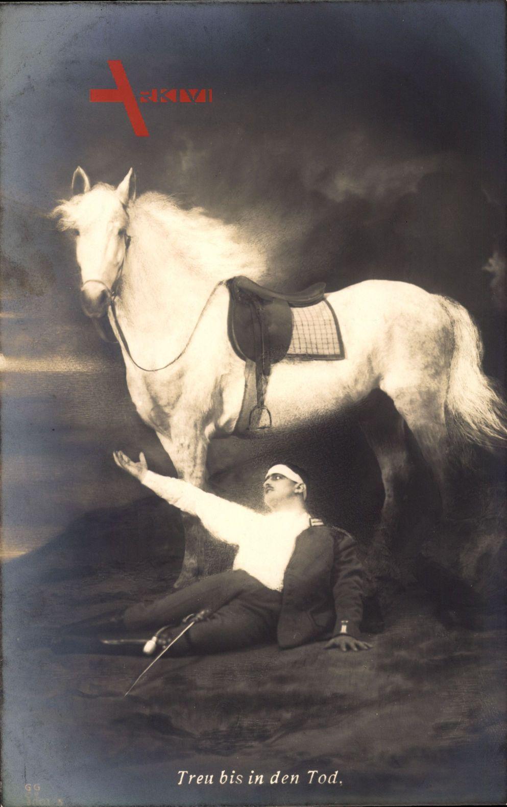 Treu bis in den Tod, Verwundeter deutscher Soldat, Weißes Pferd