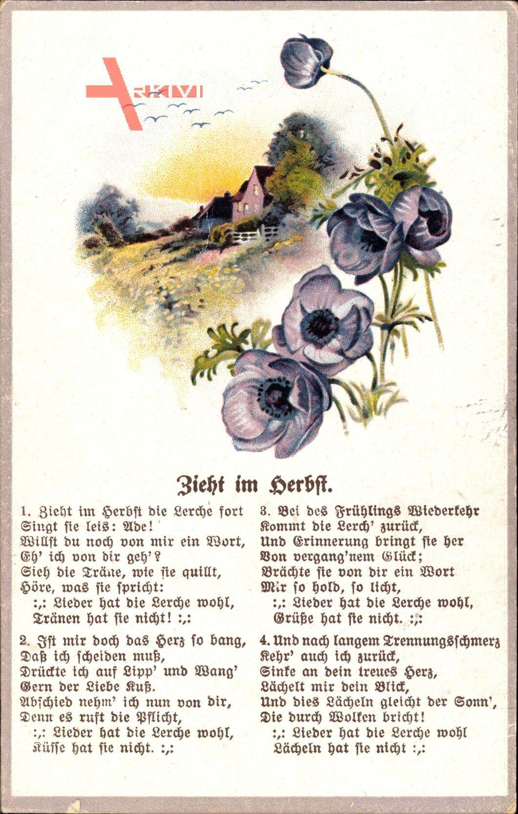 Gedicht Zieht im Herbst die Lerche fort, singt sie leis Ade