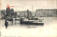 Genève Genf Stadt, Les Quais, Dampfschiff Jura, Anlegestelle, Häuser