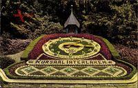 Interlaken Kt. Bern Schweiz, Ansicht der Blumenuhr am Kursaal
