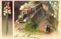 Glückwunsch Pfingsten, Eisenbahn, Dampflokomotive, Glockenblumen