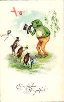 Glückwunsch Pfingsten, Maikäfer, Frosch, Zylinder, Schmetterlinge