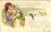 Glückwunsch Pfingsten, Frau mit Schwalben, Fluss, Brief