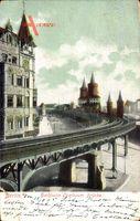 Berlin Kreuzberg, Hochbahn, Oberbaumbrücke, Türme