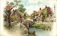 Glückwunsch Pfingsten, Dorfpartie, Alte Steinbrücke