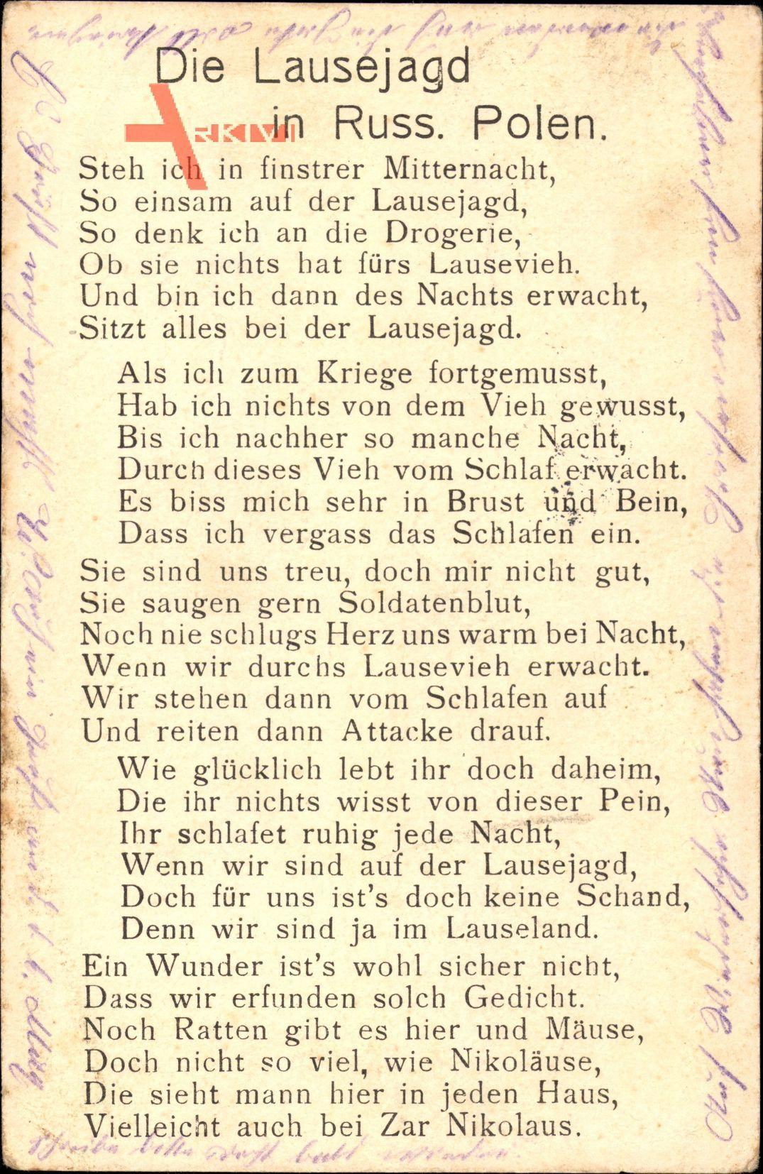 Lied Die Lausejagd in Russ. Polen, Steh ich in finstrer Mitternacht..