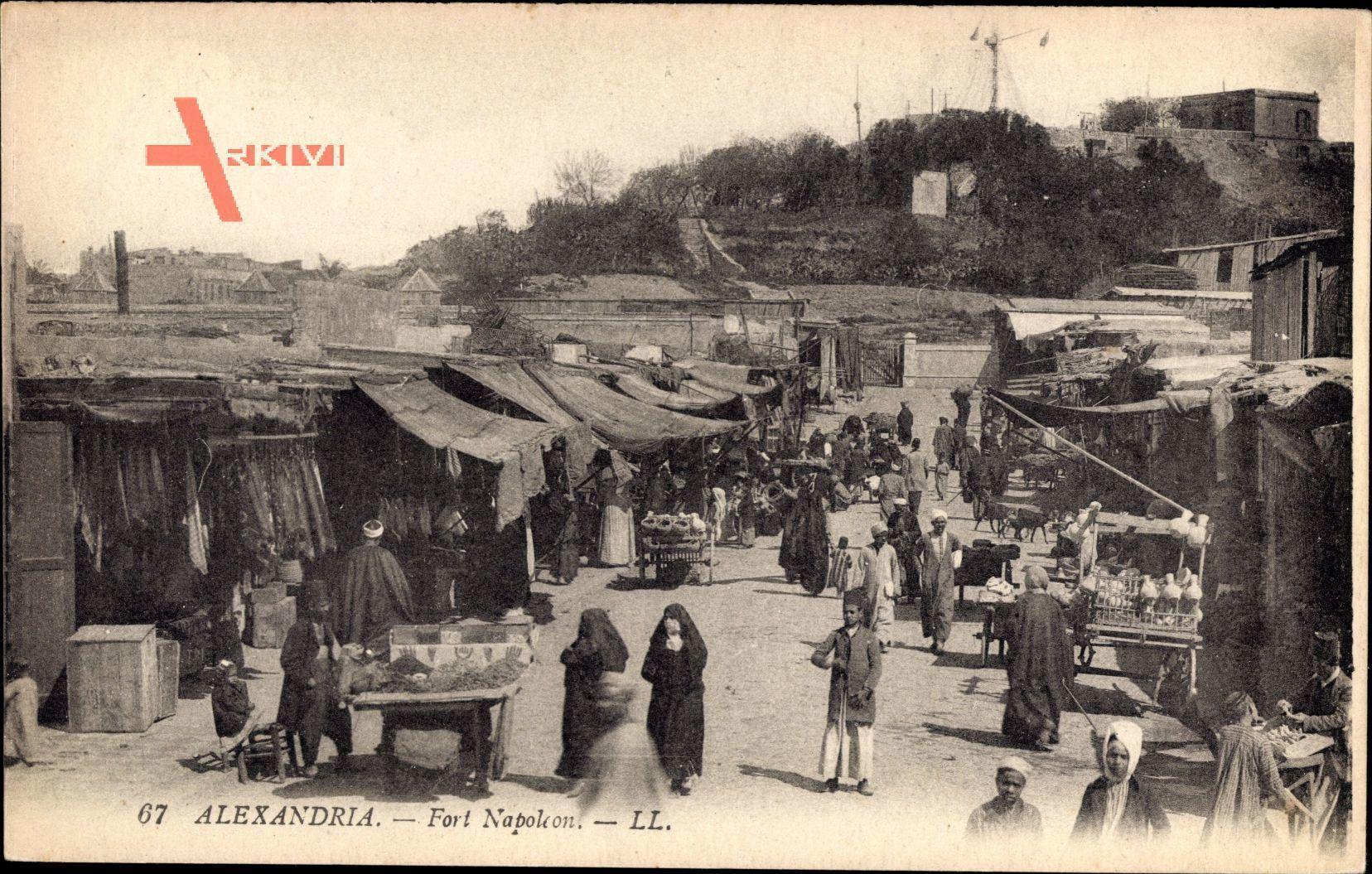 Alexandria Ägypten, Fort Napoleon, Straßenpartie, Geschäfte, Einheimische